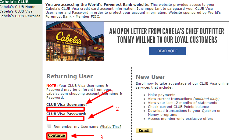 cabelas credit log in